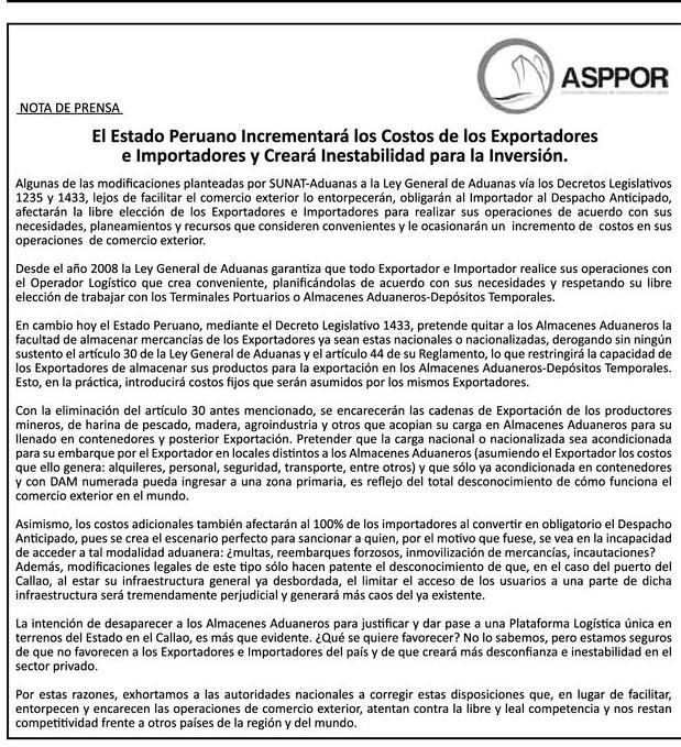 El Estado Peruano Incrementará los Costos de los Exportadores e Importadores y Creará Inestabilidad para la Inversión