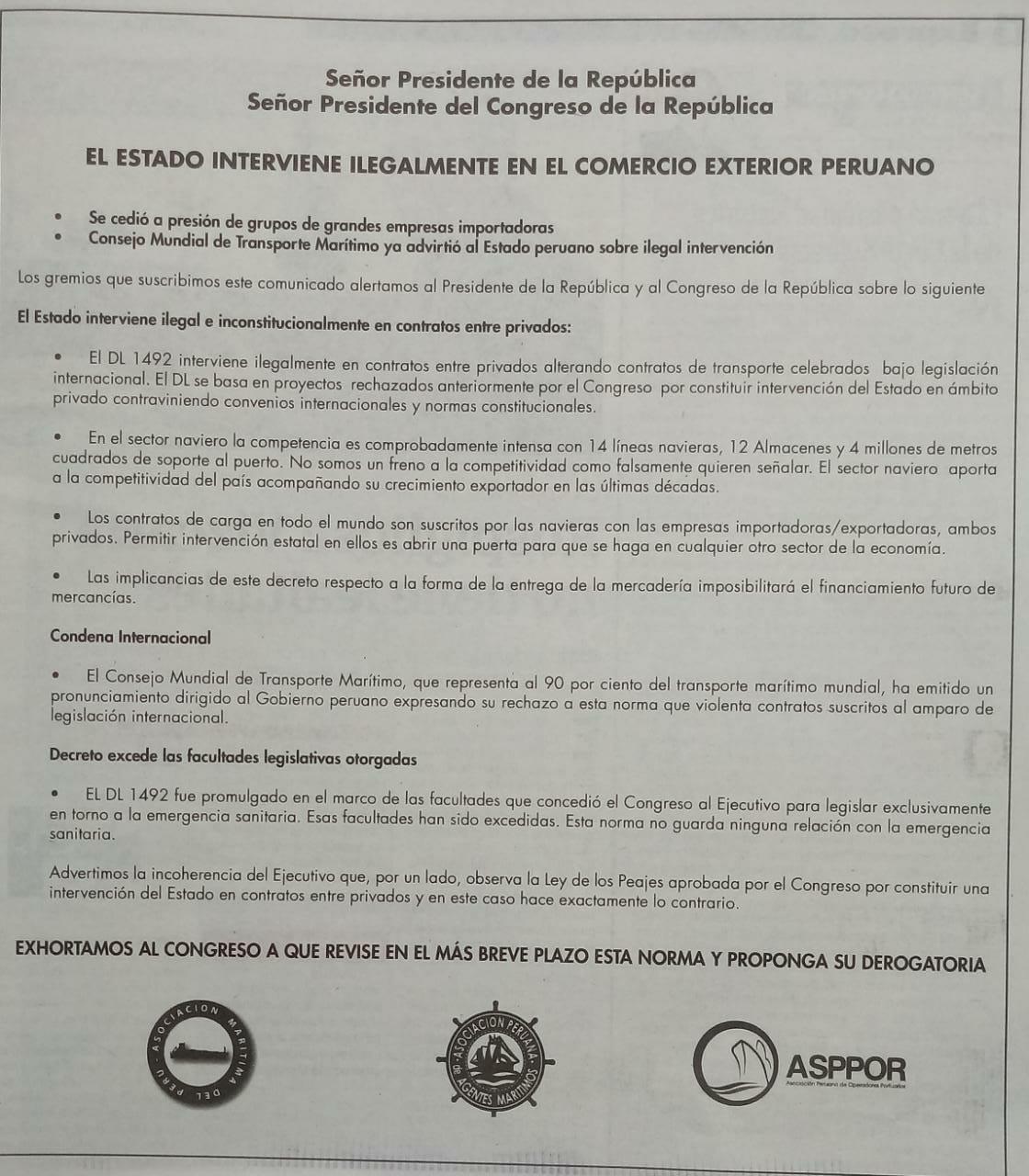 EL ESTADO INTERVIENE ILEGALMENTEEN EL COMERCIO EXTERIOR PERUANO