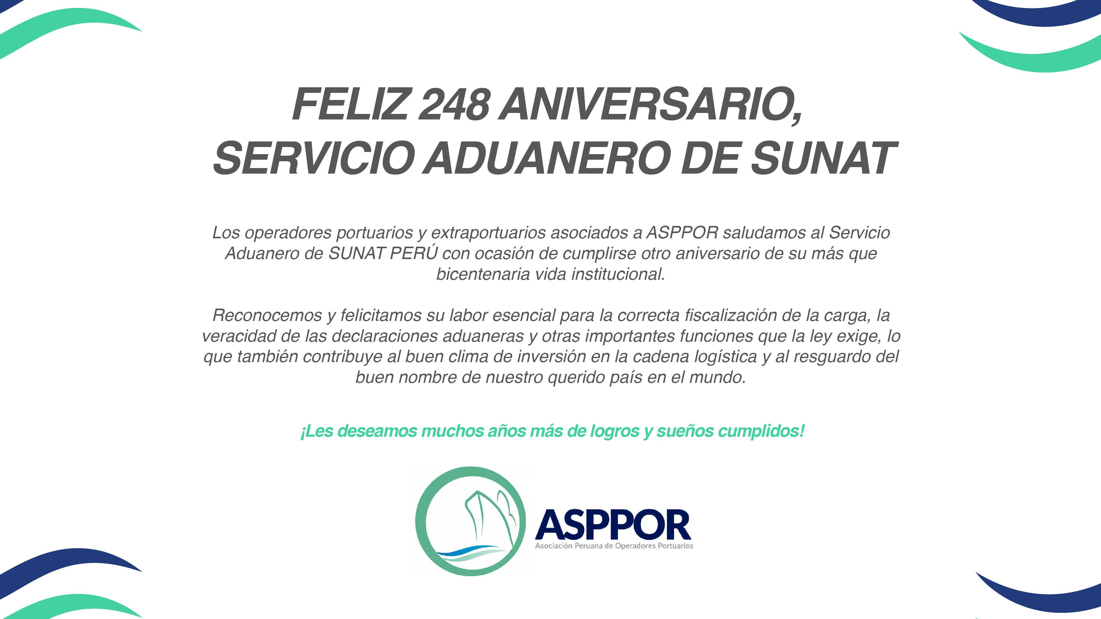 FELIZ 248 ANIVERSARIO, SERVICIO ADUANERO DE SUNAT